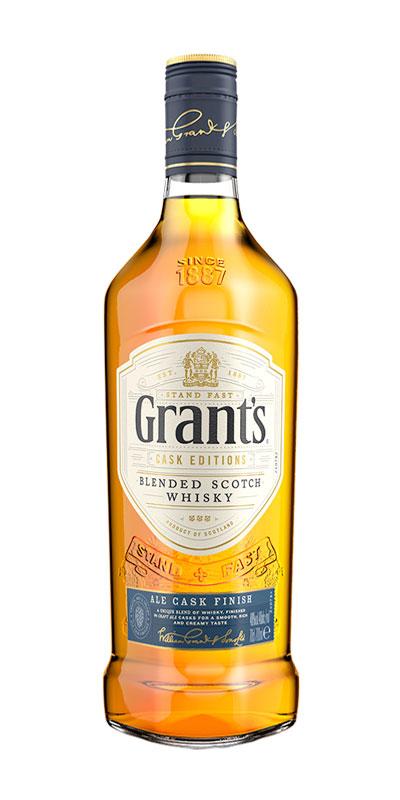 <p>Intrigado porque el whisky y la cerveza tienen perfiles iguales, nuestro Master Blender le pidió a una cervecería escocesa local que condimentara barriles de bourbon con sus cervezas. El resultado: Grant's Ale Cask Finish. Es la primera mezcla de whisky escocés en maduración extra en barricas que alguna vez contenían cerveza, lo que resulta en un sabor suave, rico y cremoso.</p>